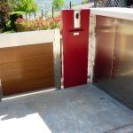 Cancello pedonale in acciaio inox e legno