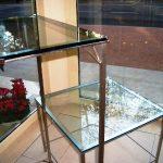 Tavolini in acciaio inox e cristallo